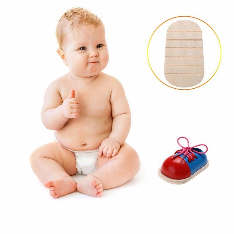 어린이 몬테소리 교육 장난감 어린이 나무 장난감 유아 신발 레이싱 신발 조기 교육 Montessori Teaching Aids Puzzle