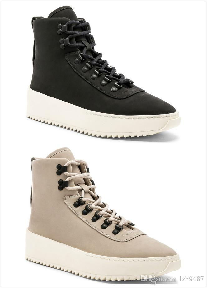 148f29c0ce7 2018 New Fear of God Shoes Black Sneaker with Canvas Insets Fog ...