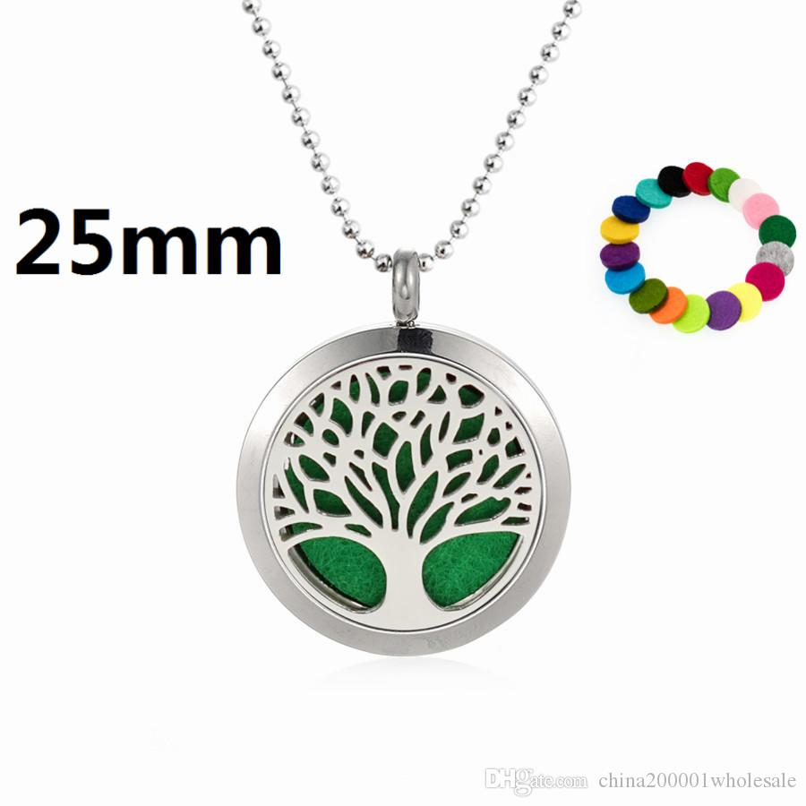 Owl on the branch 25mm Magnet plain Perfume Essential Oil Locket 316L Stainless Steel Diffuser Necklacefree 60cm chain and pads