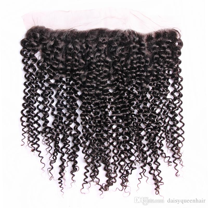 Malaysian Curly Virgin Hair With Lace Frontal 8A Kinky Curly Weave 4 Bundles With Closure Wholesale Brazilian Indian Human Hair With Fronta