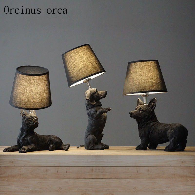Nordic Denmark retro dog table lamp living room bedroom bedside creative children's room animal decorative table lamp