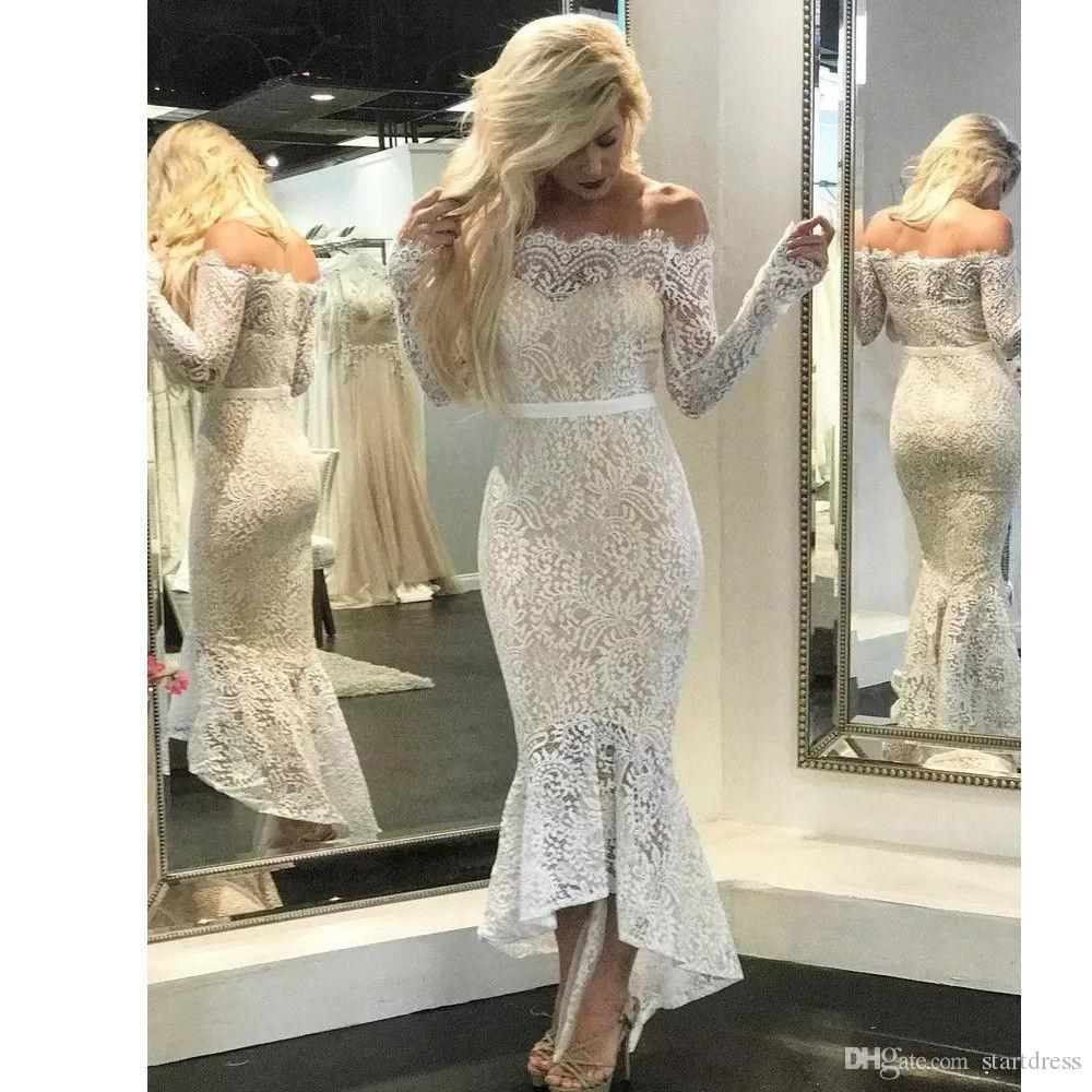 Modest White Full Lace Mermaid Prom Dresses Off The Shoulder Long Sleeve Evening Gown Fishtail Zipper Belt Cheap Formal party Women 2018
