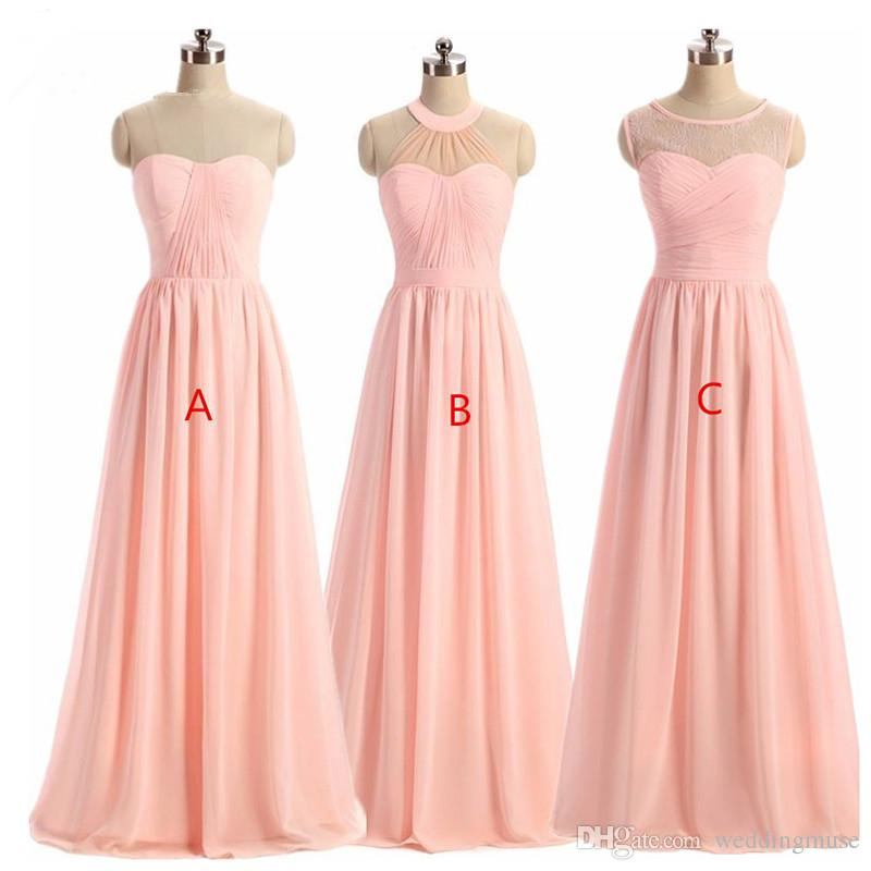 Women\' BRIDESMAID DRESS 2018 Light Pink A-Line Lace Illusion ...