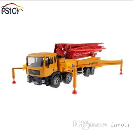 Car Toys 37cm Alloy 1:55 Scale Concrete Pump Truck Diecast Model wheels  rotatable Lorry Car Model Yellow With Red