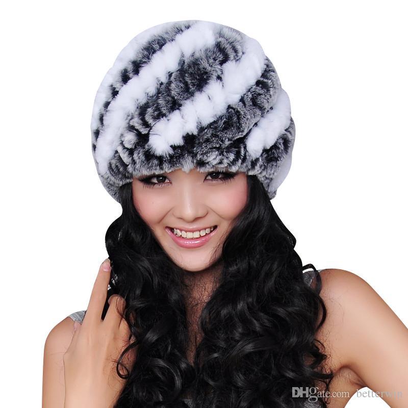 51e36c6e54aca Compre 12 Unids   Lote Singyou Sombrero De Invierno Para Las Mujeres Rex De  Piel De Conejo Cálido Gorro De Punto De Alta Calidad De Las Mujeres  Gorritas ...