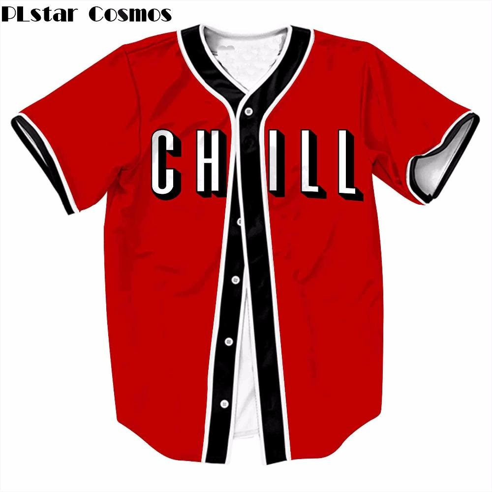 5cb0f4fbc PLstar Cosmos Chill Short Sleeve Fashion Women Men T Shirt Cool Baseball  Jersey Harajuku Style V Neck Cardigan Baseball T Shirt T Shirt On Buy Cool  Shirts ...