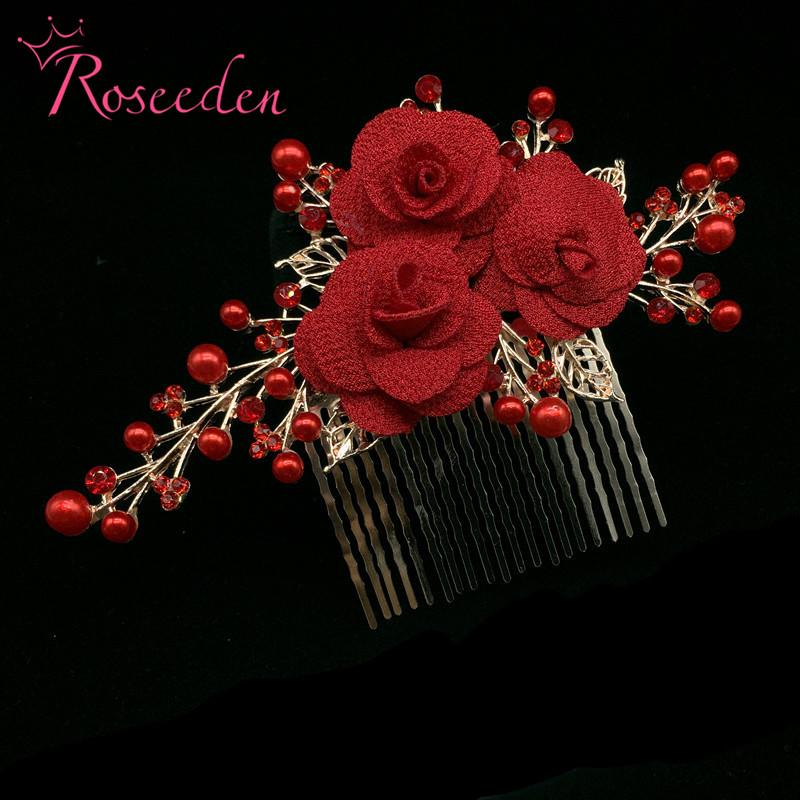 Fashion Wedding Hair Comb With Red Flower Hair Headpiece Wedding Accessories Jewelry Tiara Headbands RE3074