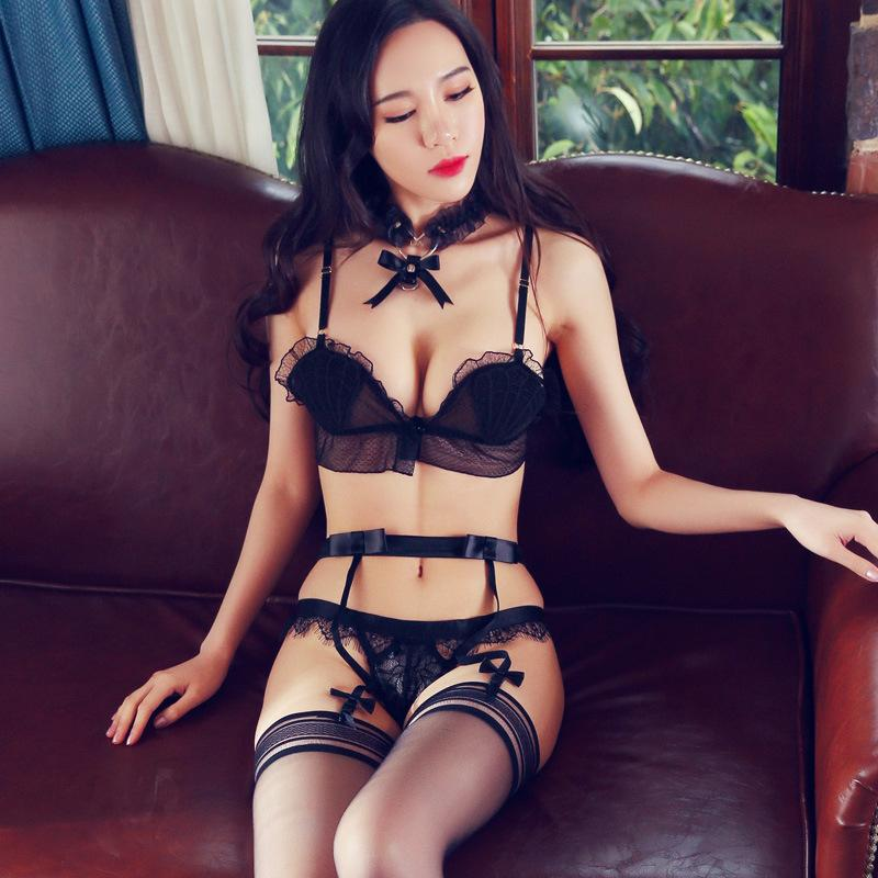 7f554814c7 2019 High Quality New Black Women Sexy Lingerie Lace Shell Bra G String  Suit Transparent Underwear With Garter Set Lenceria Conjunto From Nakewei