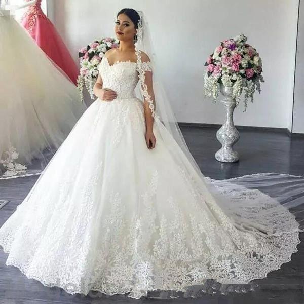 Discount Plus Size Off Shoulder Wedding Dresses 2019