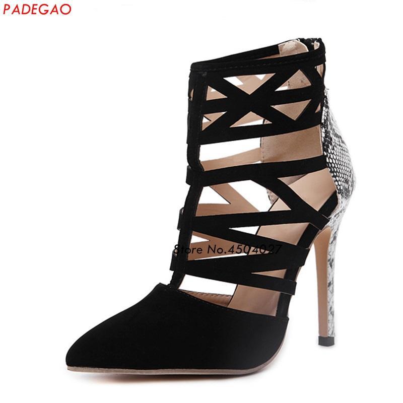 699d02e031a Compre Mulheres Sexy Bombas Caged Cut Out Gladiador Sapatos Toe Pontudo  Patchwork Snakeskin Sapatos De Salto Alto Mulher De Haolinbag