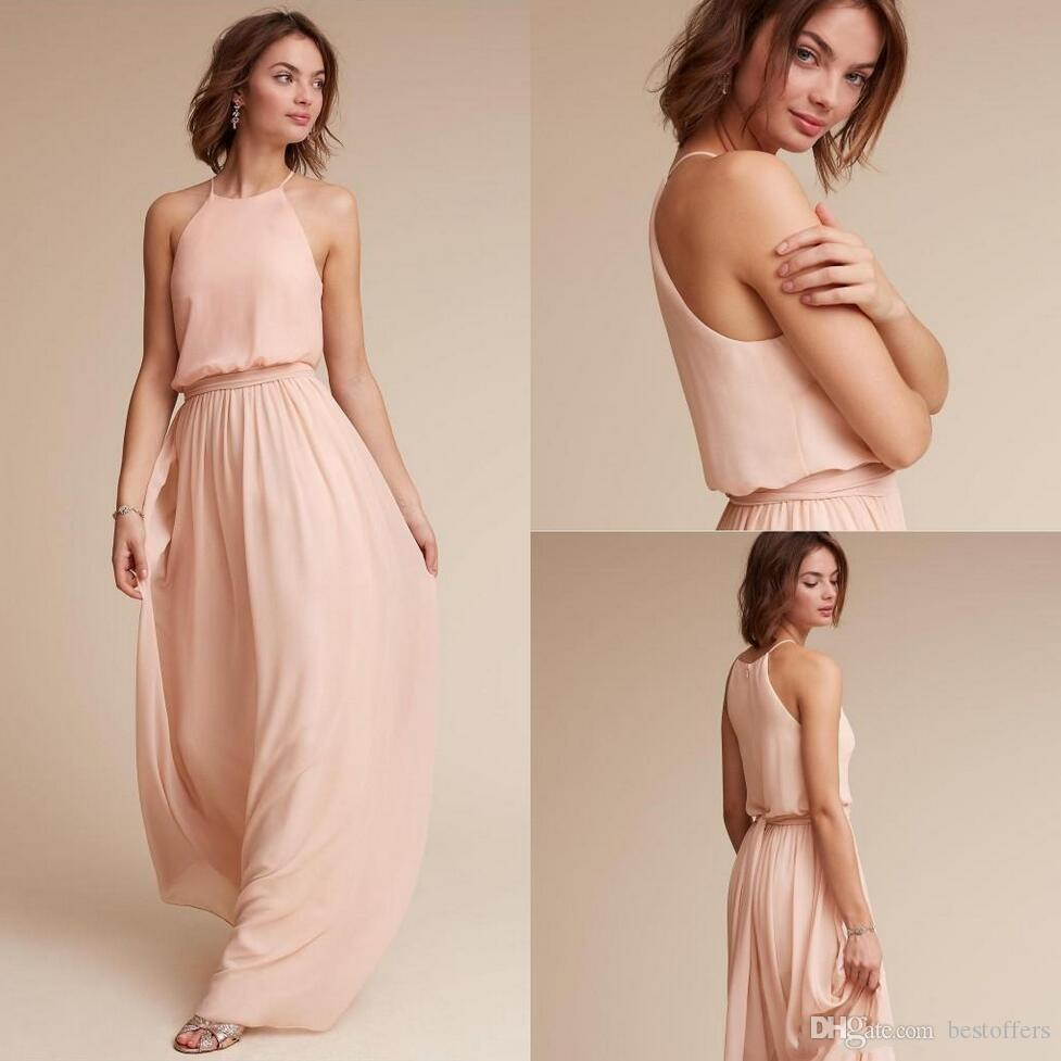 8c0670c7300 Blush Pink Chiffon Bridesmaid Dresses 2018 Halter Long Maid Of Honor Gowns  Cheap Wedding Guest Party Dress Country BM0035 Vintage Bridesmaids Dresses  Violet ...