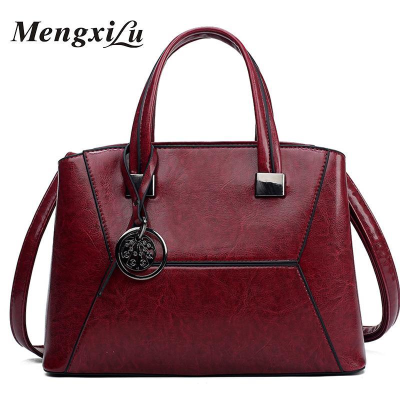 4ca57a06ad 2019 Fashion MENGXILU Fashion Women Bag Luxury Brand Designer Casual Women  Genuine Leather Handbags Female Shoulder Messenger Bags 2018 Side Bags  Handbag ...