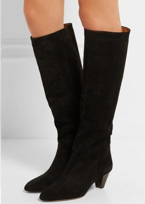 Новый осенний прилив черный замша женщины колено высокие сапоги Ковбой острым носом мода Леди сапоги партия обувь женщина Botas Mujer