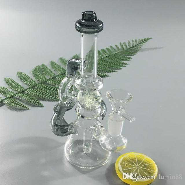 7.5 inches Hot luminous ball recycler glass bong glass smoking pipe water pipe bong with percolator 14 mm female joint FC-015.
