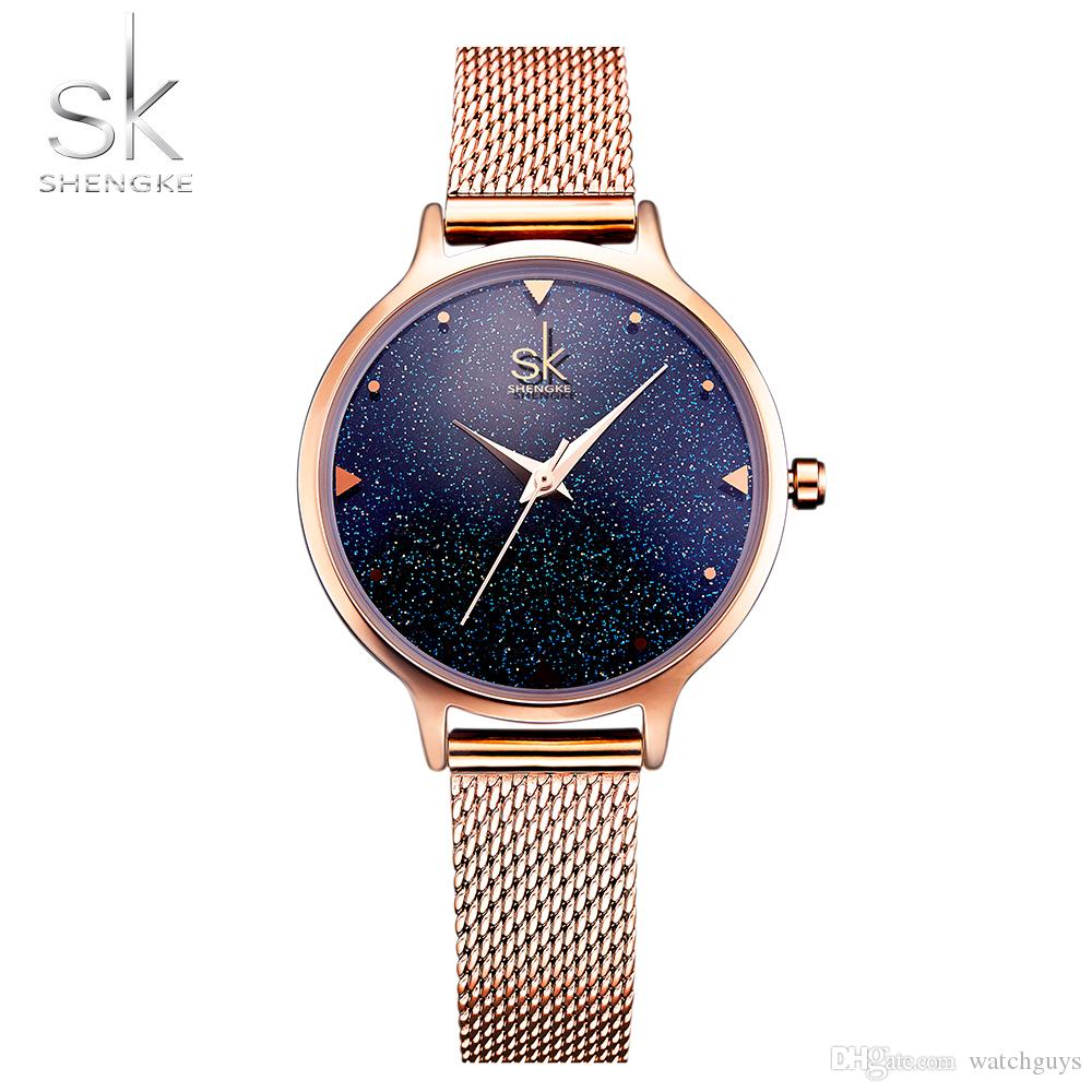 f93a7dbfd37 SHENGKE Fashion Elegant Quarts Women Watch Rose Gold Women Wrist ...