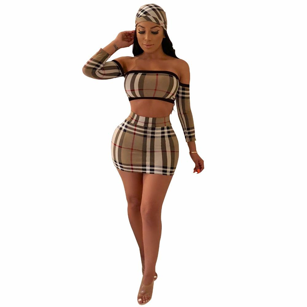 d751c031f261 Women Three Piece Outfits Fashion Sleeveless Grid Strapless Crop Top ...