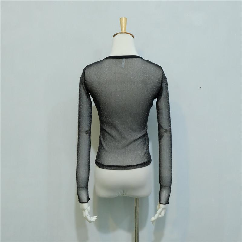 Fashion perspective sexy mesh blouse shirt 2017 summer black top female basic casual women shirts long sleeve hot body clothing