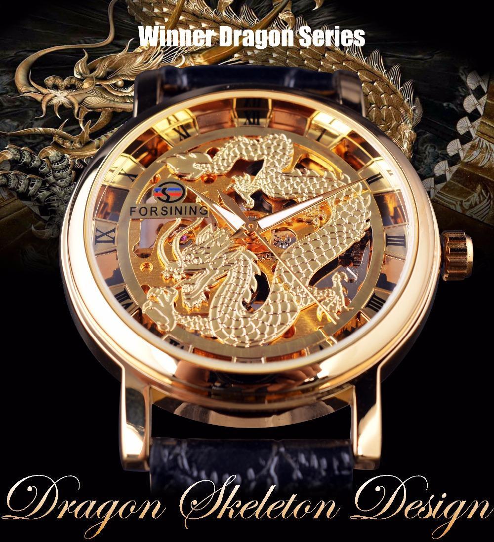 681440b0f3a Compre Homens Forsining Dragão Chinês Projeto Esqueleto Caso Transparente Mens  Relógios De Ouro Top Marca De Luxo Mecânico Masculino Relógio De Pulso De  ...