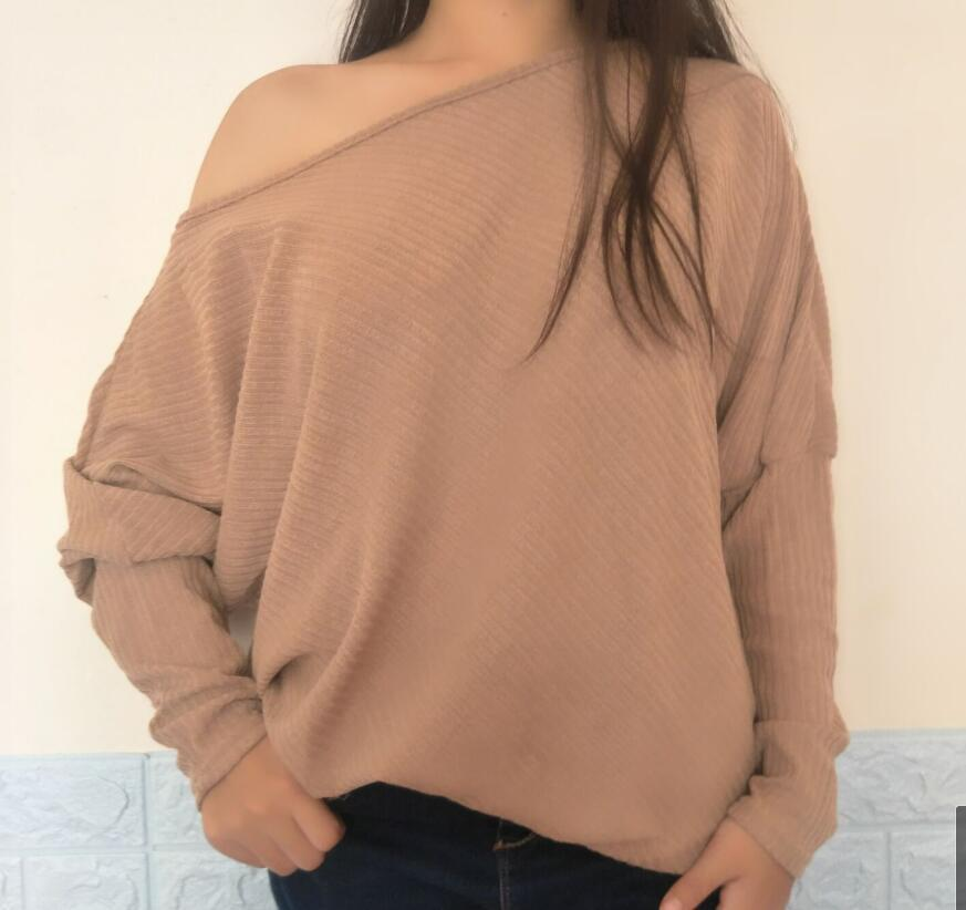 ba821e574a66 Sweater Women 2018 New Spring/Autumn/winter Fashion Sexy Dew Shoulder Long  Batwing Sleeve Knitting Sweater Solid Women Clothing Online with  $38.95/Piece on ...