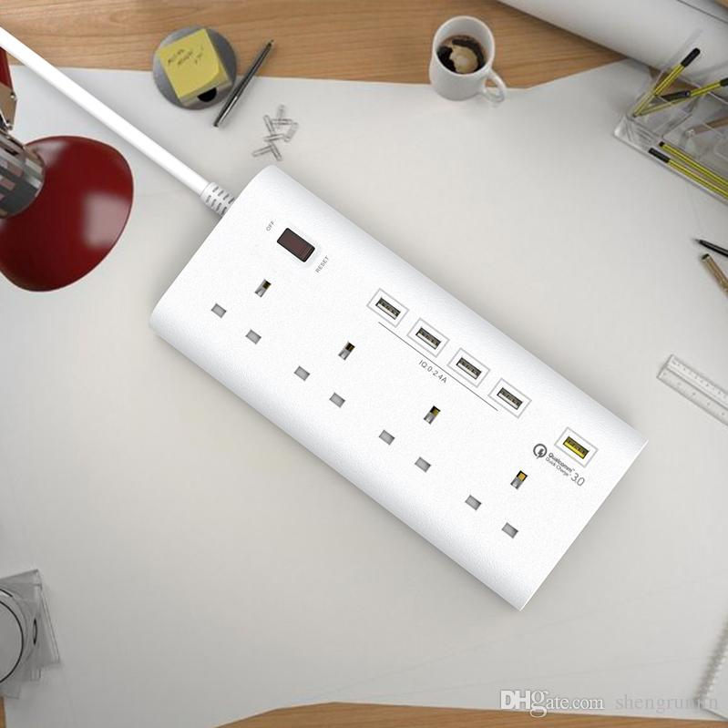CE Certified UK USB Extension Socket 1.8m Heavy Duty Cable 3250W Extension Lead with Surge Protector