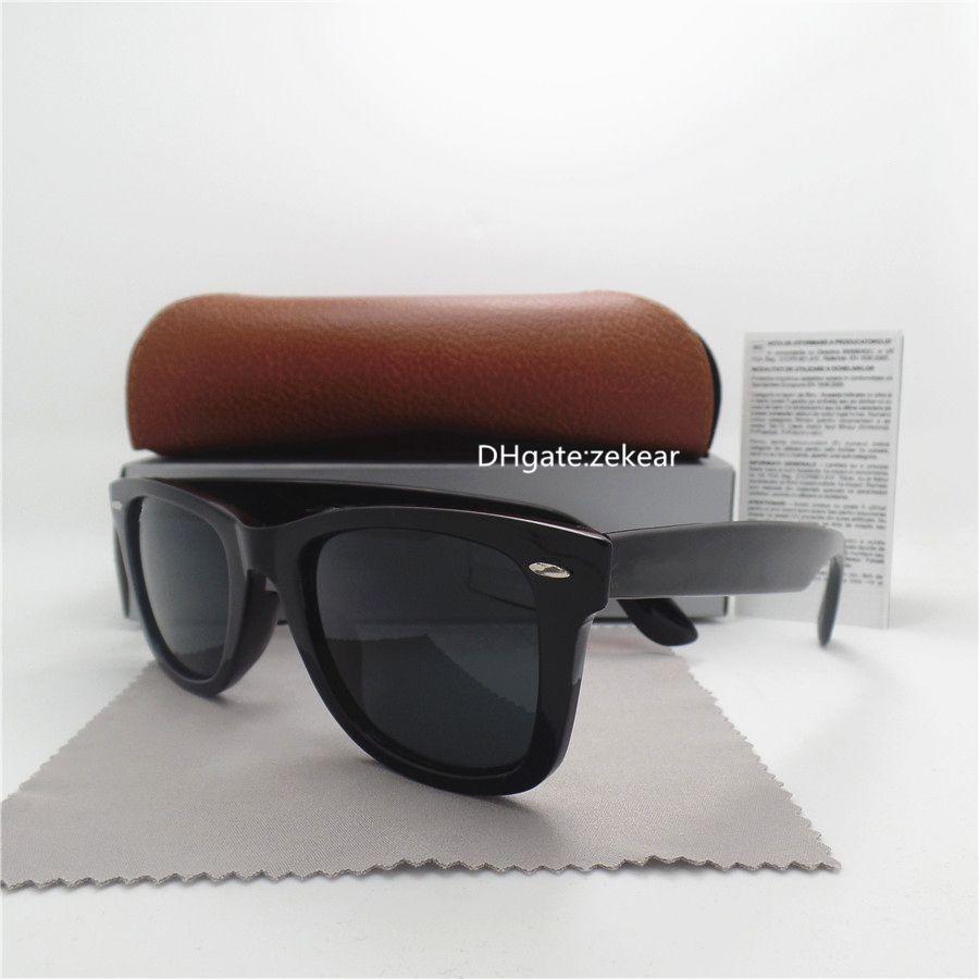 Top 52MM Glass Lens Men Women Sunglasses UV400 classic Eyewear Metal Hinge Side Sport Vintage Mercury Shade Eyeglass With Box Case Beach