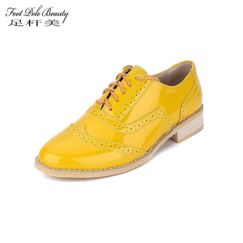 45ae2f351522 Acheter FOOT POLE BEAUTY Marque Chaussures Femmes Haute Qualité En Cuir  Véritable Casual Oxford Chaussures Femme En Cuir Verni Femelle Femelle De   58.43 Du ...
