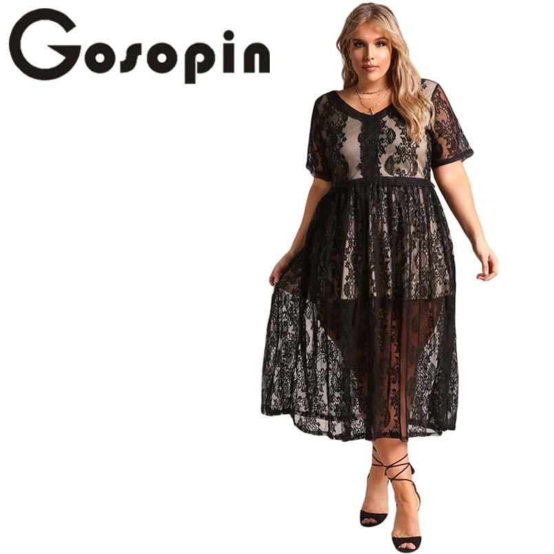 9c9b8b8f7ce Gosopin Plus Size Floral Lace Flared Midi Dress Sexy Short Sleeve 5XL High  Waist Woman Dresses Autumn Office Hollow Out LC610513 Dresses Cheap Dresses  ...