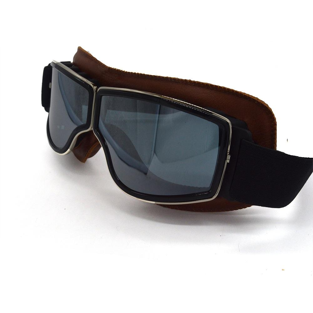 1e5290bd57b 2018 Retro Vintage Motorcycle Cruiser Scooter Biker Goggles For Harley  Bobber Chopper Helmet Coffee Leather Frame Best Glasses For Riding  Motorcycle Best ...