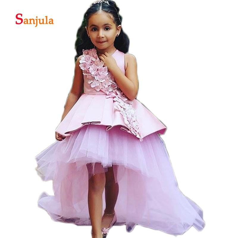 4d7f9f628365 Acquista High Low Pink Flower Girls Abiti Fatti A Mano Fiori Splendide  Bambine Prima Comunione Abiti Ragazze Pageant Party Dress D72 A  127.05 Dal  ...