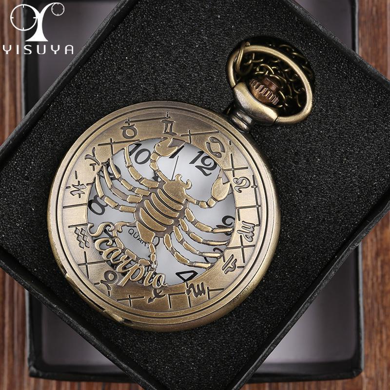 6fe00d6c47d Pocket Watch Zodiac Steampunk Vintage Analog Watches Scorpio Case Necklace  Chain Clock Relogio De Bolso Xmas Gift Vintage Pocket Watches Vintage  Pocket ...