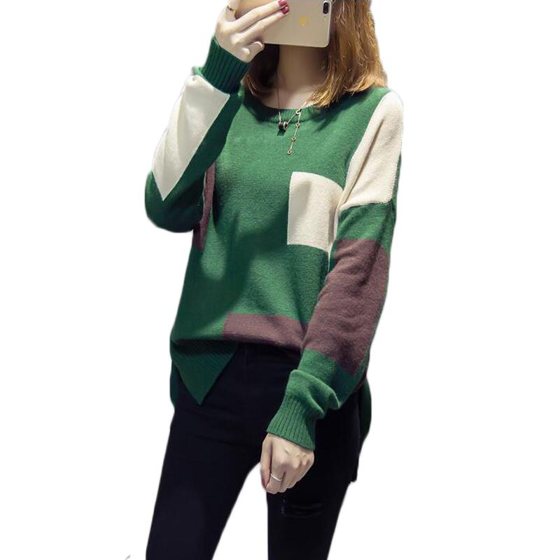 9079525d872 2019 Women Fashion Long Sleeve Patchwork Pullover Sweater Autumn Winter  Ladies Split Knitted Sweaters Female Knitwear Outfit Tops From Luweiha