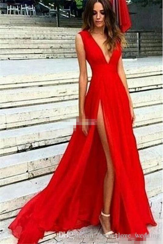 Elegant Red Split Chiffon Boho Prom Dresses Long 2018 Sexy Deep V Neck A  Line Floor Length Evening Formal Gowns Vestidos De Fiesta Custom Princess  Prom ... 68351b8b2