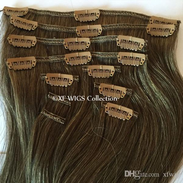 Cheap 18 Inch 100 Indian Remy Hair Clip In Human Hair Extensions