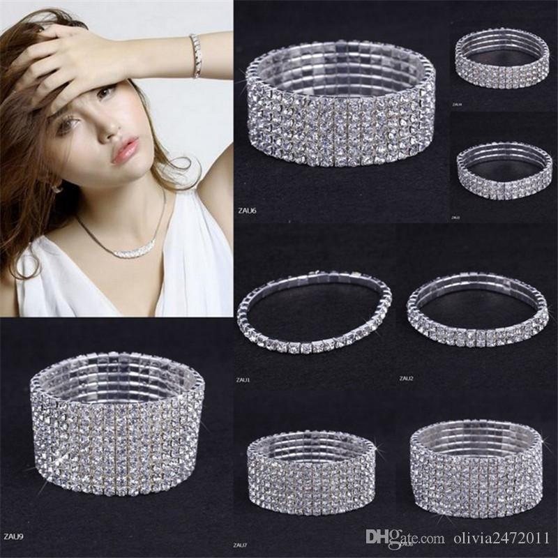 New Fashion Woman Bracelet Crystal Rhinestone Stretch Bracelet &Bangle For Girls Wristband Elastic Wedding Bridal Jewelry