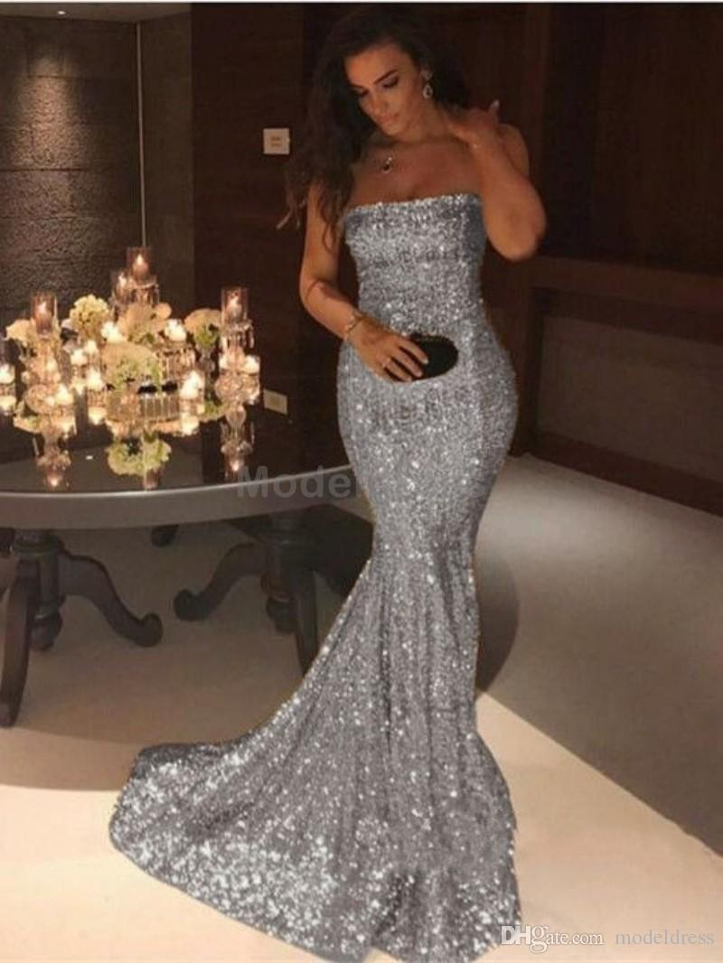 Sparkly Pullu Mermaid Gelinlik Modelleri 2018 Straplez Backless Altın Gümüş Örgün Akşam Partisi Törenlerinde Uzun Arapça Özelleştirilmiş