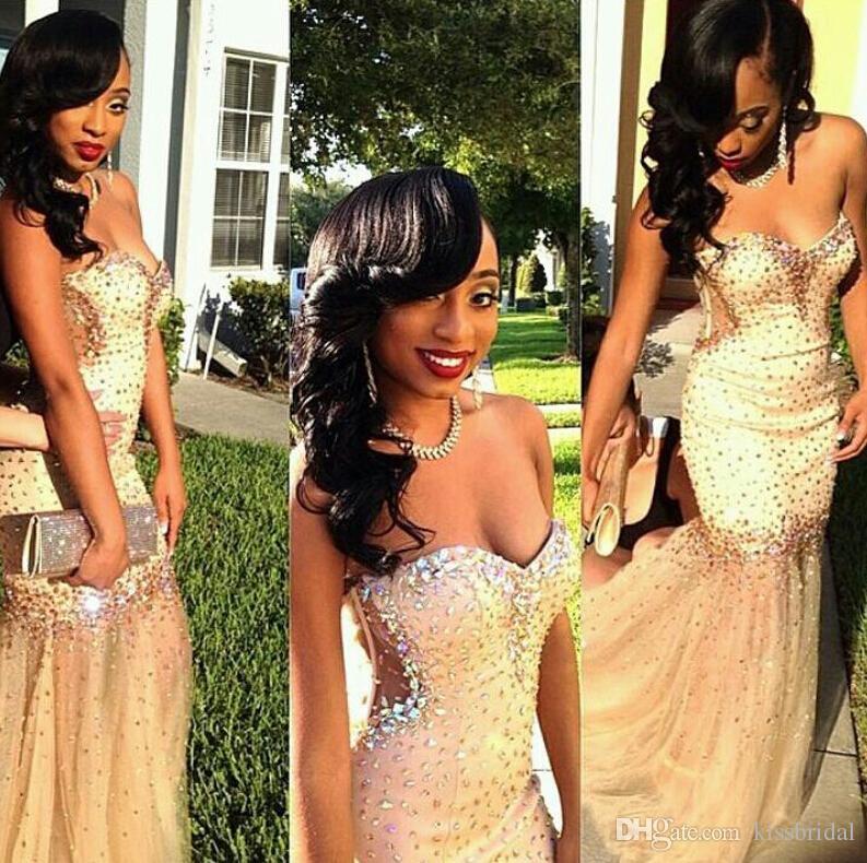 2K 18 Vestidos de baile sexy Champagne Meramid Vestidos de noche formales Bling Crystal Beading Sweetheart Neck Black Girls Vestidos