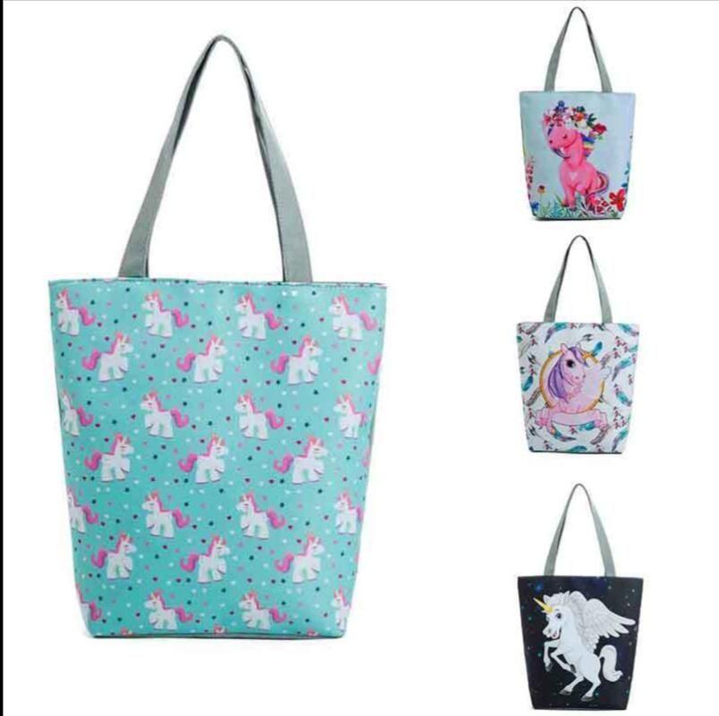 2af5ffc5e Compre Unicornio Imprimir Bolsas De Playa Para Mujer Bolsos De Lona Bolsos  De Diseño Floral Solo Hombro Mujeres Bolsa De Compras LJJK989 A $4.2 Del  Ruby_one ...