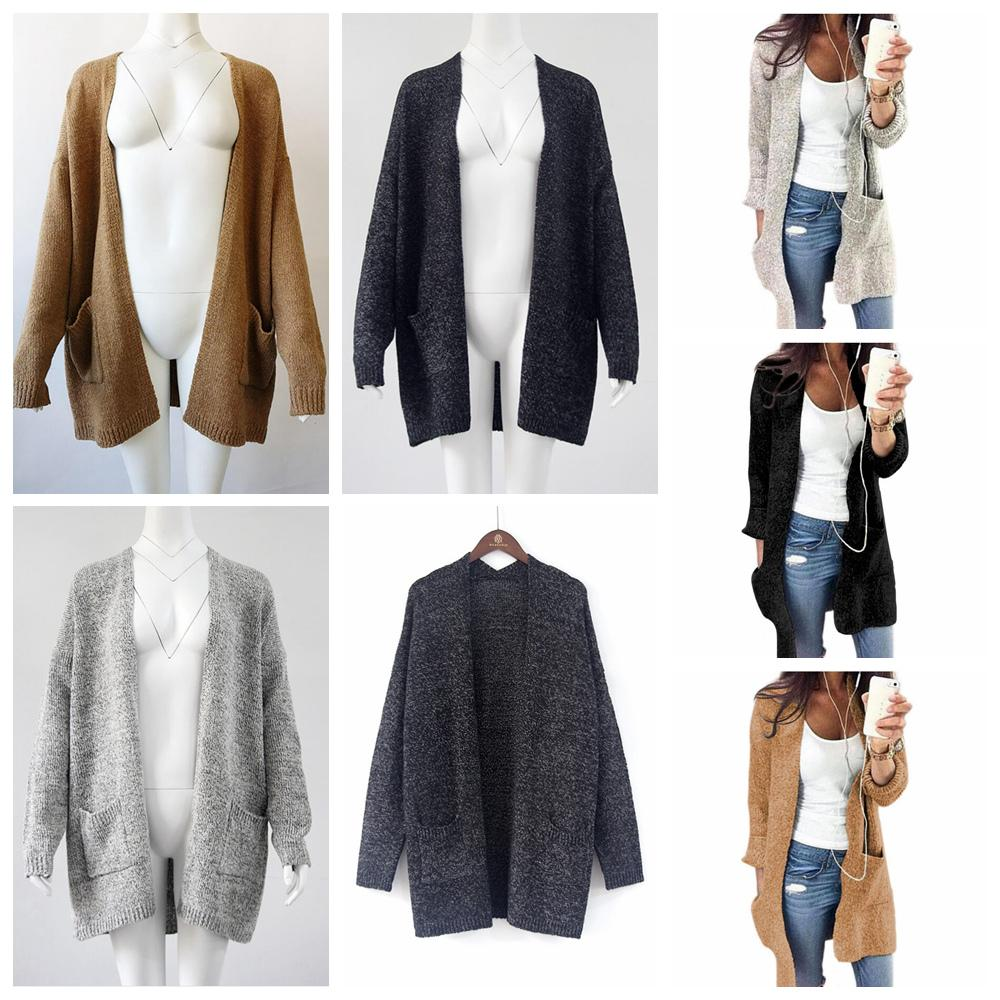a3572781509 Women Knitting Cardigan Long Sleeve Sweater Loose Jacket Long Style Warm  Coat With Pocket Outwear Cardigan Sweater FFA969 Hand Knitted Girls  Cardigans Girls ...