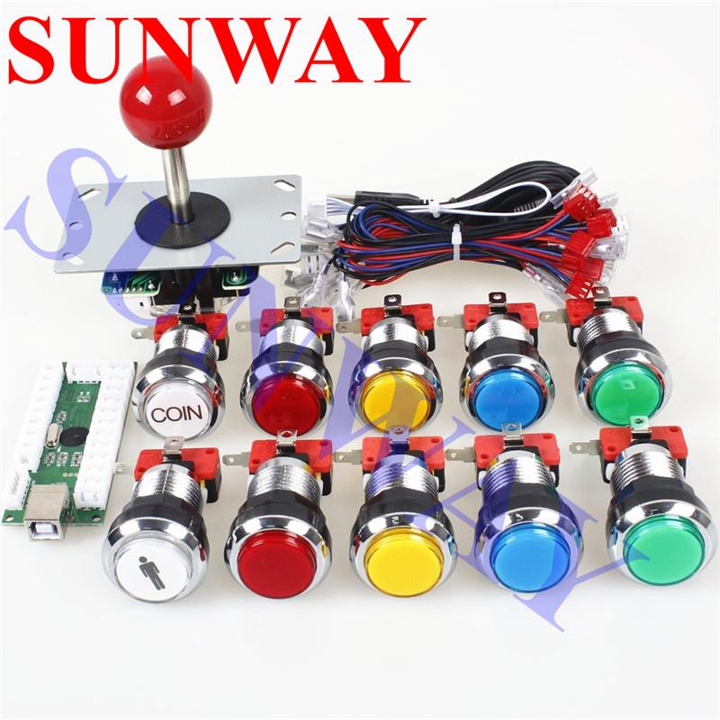 1 Player Classic Arcade Contest DIY Kits USB Encoder PC Joystick 8 Ways  Sticker Chrome LED Illuminated Push Button Arcade Mame