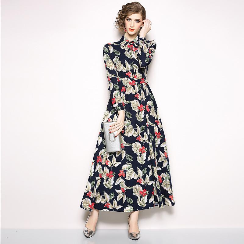 3ff64c53ca006 2019 Floral Dresses Women Party Prom Maxi Dress Long Sleeve Slim Fit  Vintage Print Black Shirt Dress From Sinofashion