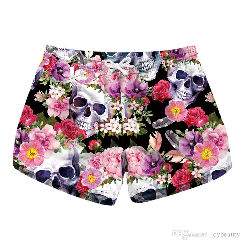 c872808c16 2019 Women Short Beach Shorts Skull Flower 3D Full Print Girl Casual  Swimming Shorts Lady Digital Graphic Beach Pants Boardshort RLLbp 6024 From  Joybeauty, ...