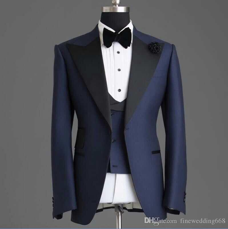 Customize Handsome Peak Lapel Navy BlueOne Button Wedding Groom Tuxedos Men Suits Wedding/Prom/Dinner Best Man Blazer(Jacket+Tie+Vest+Pants)