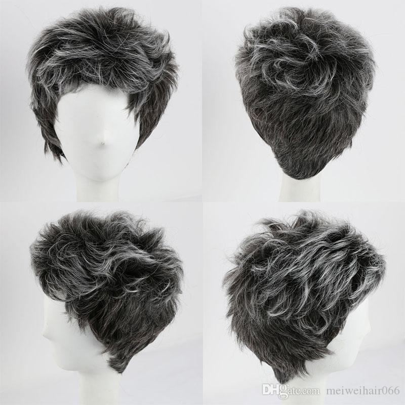 Short Synthetic Hair Ombre Grey Wig for Mens Women Daily Costume Cosplay Synthetic Wigs African American Wigs and Cap Fashion Short Wigs