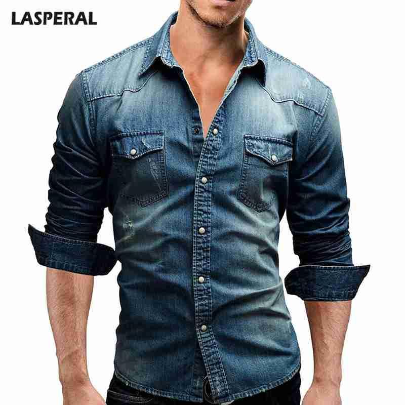 643658d603 2019 LASPERAL Denim Shirt Men Pocket Long Sleeves Slim Fit Cotton Dress  Shirts Casual Men S Shirt Autumn Streetwear Camisa Masculina From  Modleline
