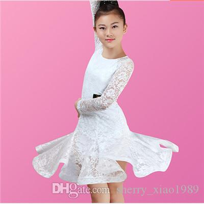 2019 New Children Kids Girls Latin Dance Dress Long Sleeve Lace Chacha  Tango Ballroom Costumes Practice Dance Dress White Black Green Red From ... d13d755f5778