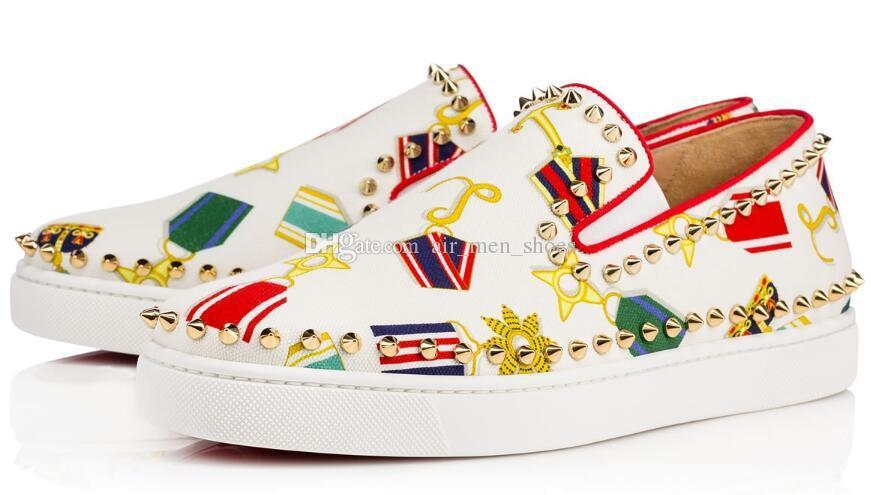 Barato Designer Red Bottom Sneakers Sapatos Casuais Das Mulheres Dos Homens de Prata Baixos Spikes Flats Loafers Pik Barco de Couro Genuíno de Luxo Homem Mulher Sapato