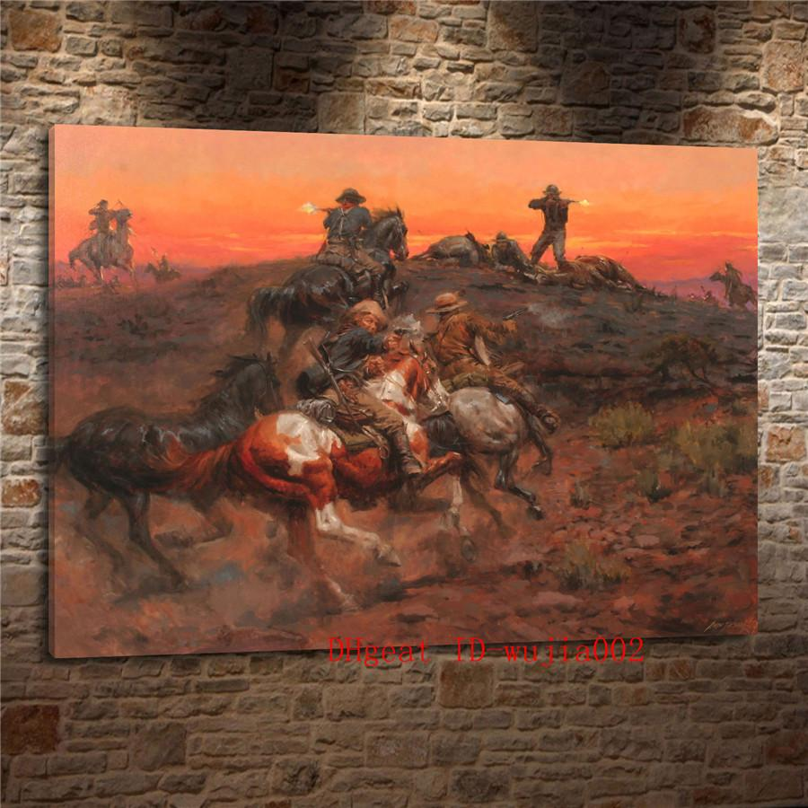2019 cowboy melee canvas painting living room home decor modern mural art oil painting from wujia002 6 04 dhgate com