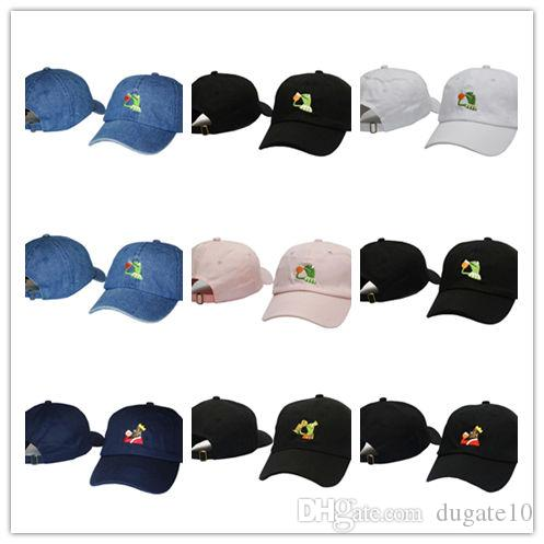 1370a2d0673e3 New Arrival KERMIT TEA Hat slide buckle none of my business emoji king  lebron james meme dad Cap NEW casquette kenye west ye bear
