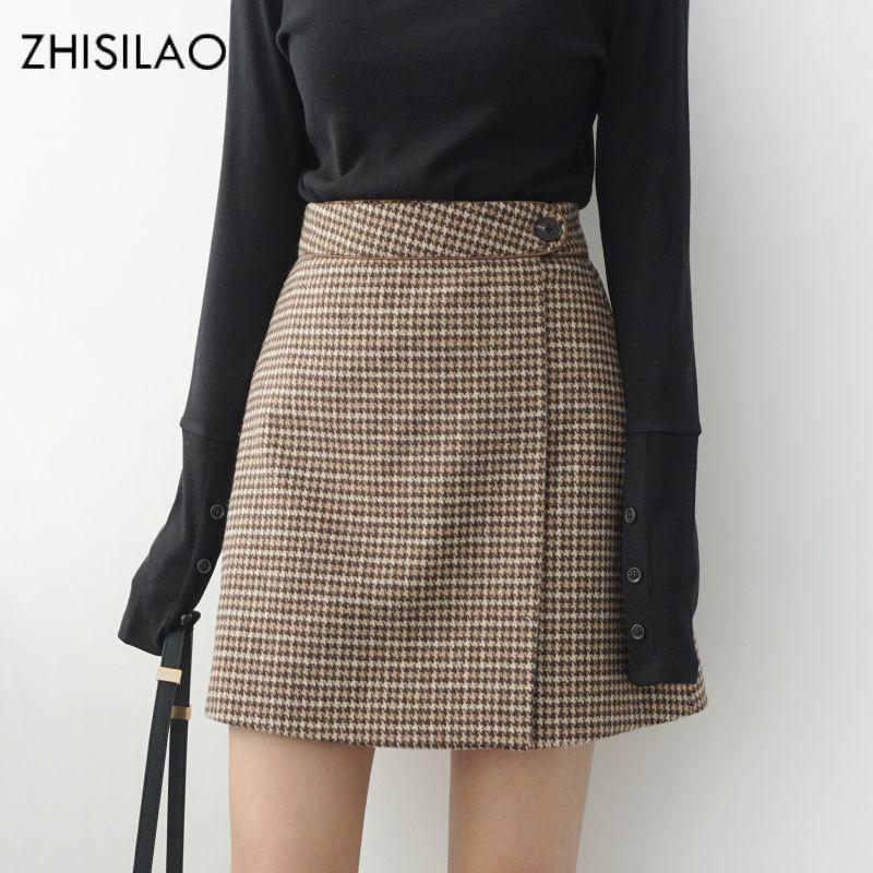 c0e6eeb404e ZHISILAO 2018 Woman Skirts Woman Pencil Skirt Lolita Bodycon Sexy Winte High  Waist Vintage Petticoat Lattice Plaid Skirt Woolen D1891802 Black Women  Dress ...