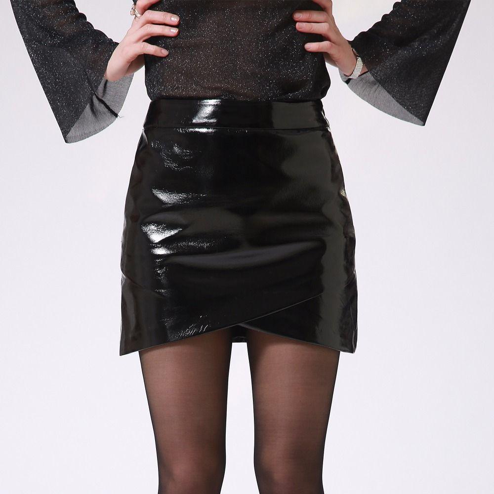 4bca59fcb8078 Gros-Automne Hiver Femmes Sexy Mini Jupe Noir PU Brevet En Cuir Femme Court  Crayon Jupe Zipper De Mode Streetwear Jupes Talever